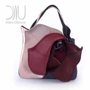 Designer Top Handle Bag. Rosebud Grey/Beige by Diana Ulanova. Buy on women-bags.com