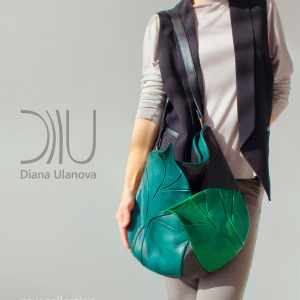 Designer Shoulder Bag. Leaves Black Green 2|Leaves Dark Brown by Diana Ulanova. Buy on women-bags.com