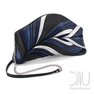 Clutch Bag Design. Feather Clutch Black Blue by Diana Ulanova. Buy on women-bags.com