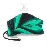 Feather clutch Black Green.