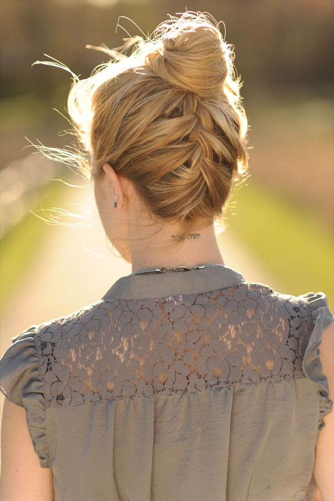 Upside Down French Braid For Wedding Hairstyle Women
