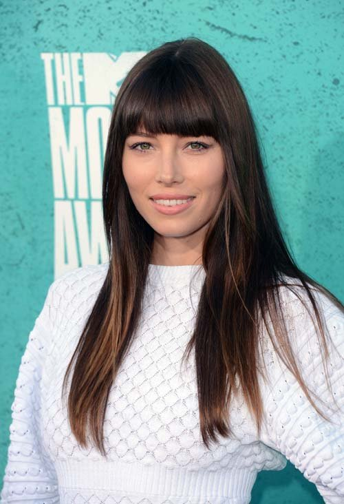 Jessica Biel Blunt Bang And Long Hair Women Hairstyles