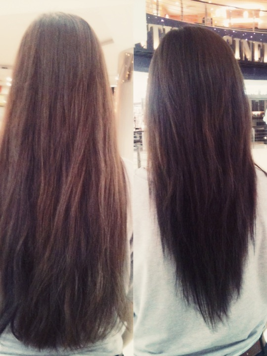 Long Hair V Shape Hair Cut Before And After Women Hairstyles