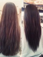 long hair with shape cut