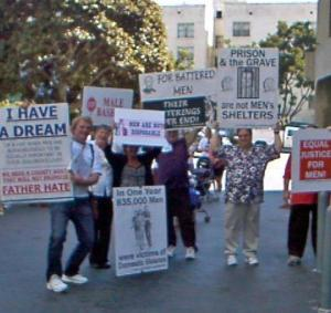NCFM members protesting at 2008 San Diego domestic violence event