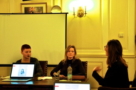 From left: Susan Garrard, Mary Harrod, & Julia Hartley in conversation