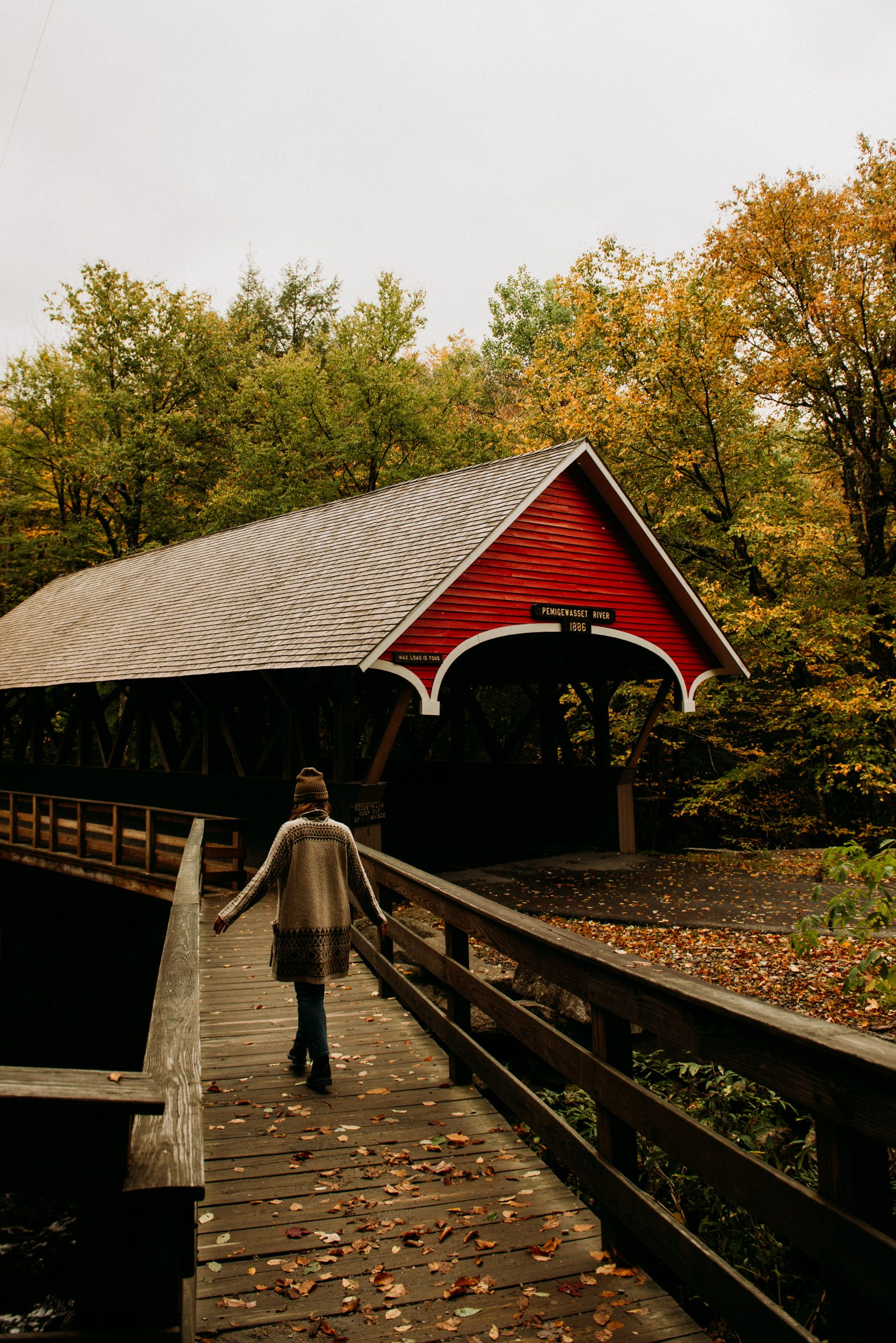 Red Covered Bridge in Flume Gorge in Franconia Notch New Hampshire