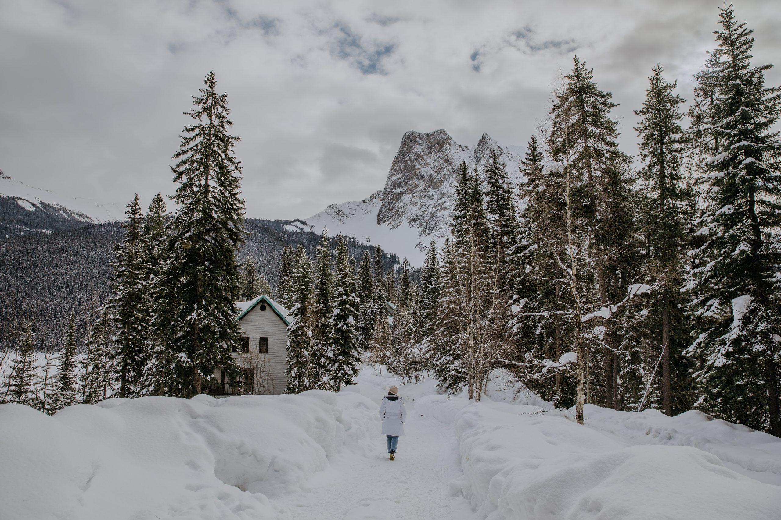 Girl walking on Emerald Lake Lodge Property