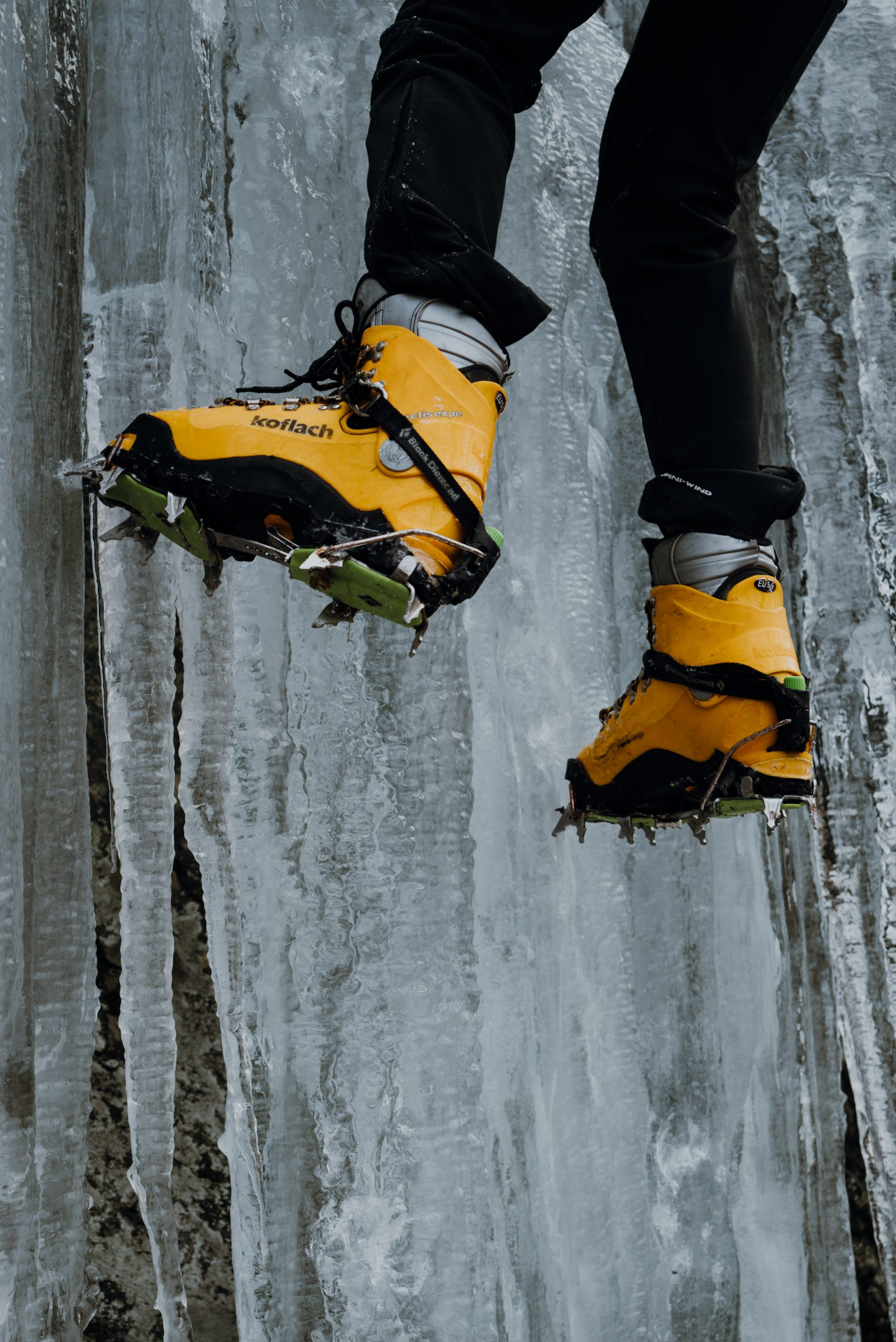 Climbing boots with crampons