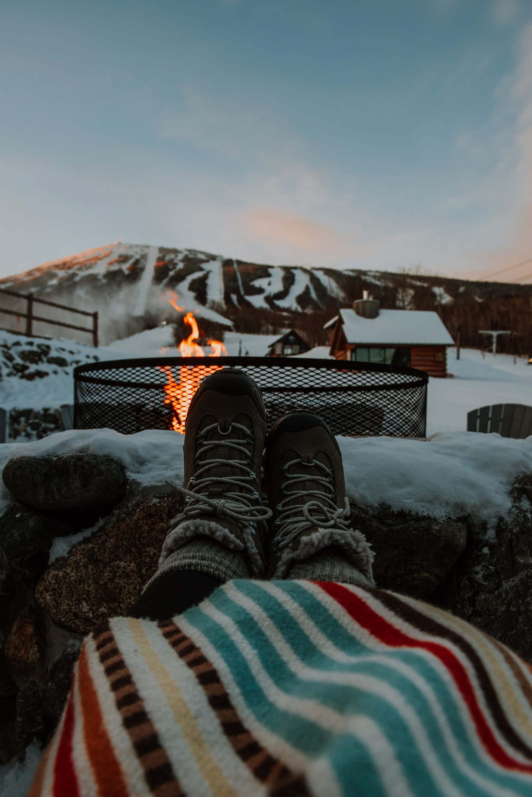 Cozy fire pit at Sugarloaf Mountain in Maine