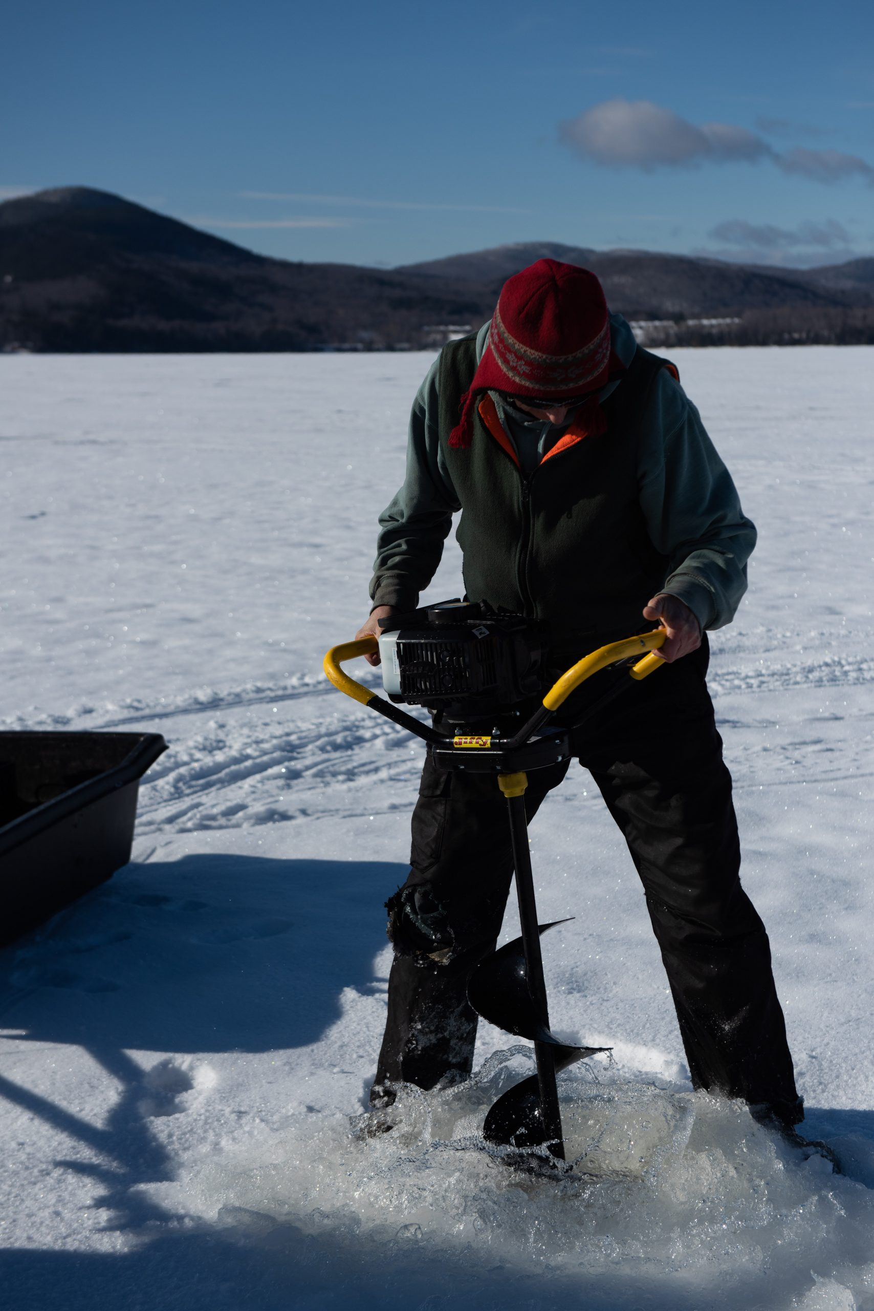 Ice Fishing on Moosehead Lake in Maine