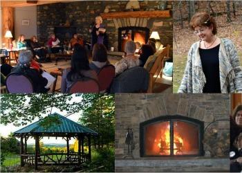 collage of women's retreat
