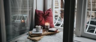 a quiet corner with food and a book