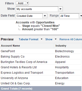 "Showing report builder tabular report with Account Name and Industry fields. The filters are Accounts with opportinities, where the sage equals ""Closed Won' and the Amount is greater than 100."