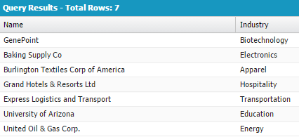 Showing query results of 7 rows with Name and Industry.