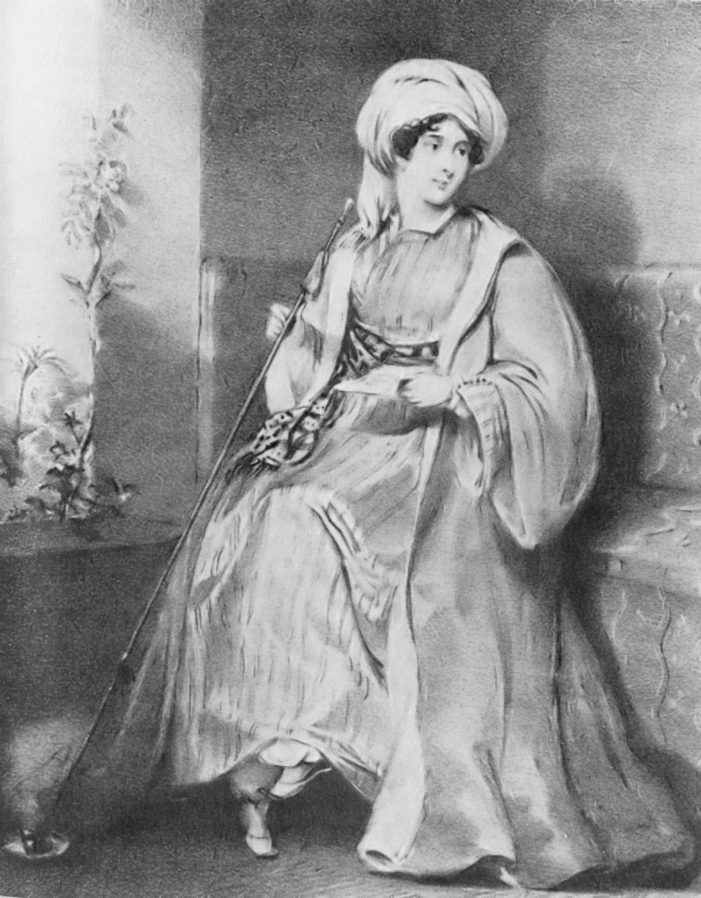 Lady Hester Lucy Stanhope dressed in men's Turkish garb. Image via Wikicommons.