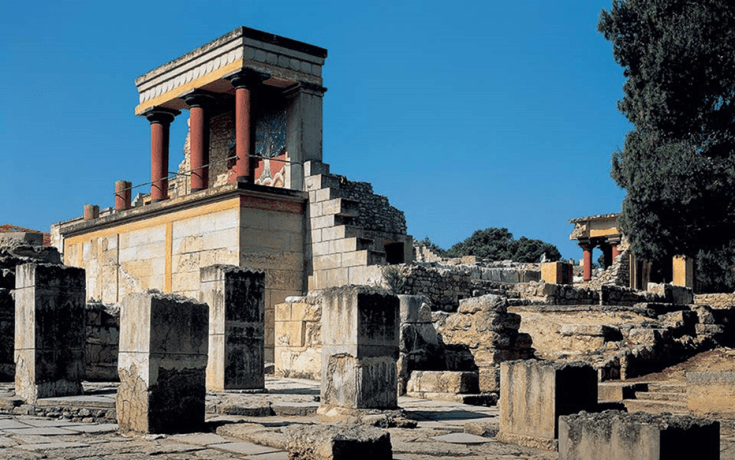 Evans' now heavily reconstructe 'Palace of Minos' at Knossos