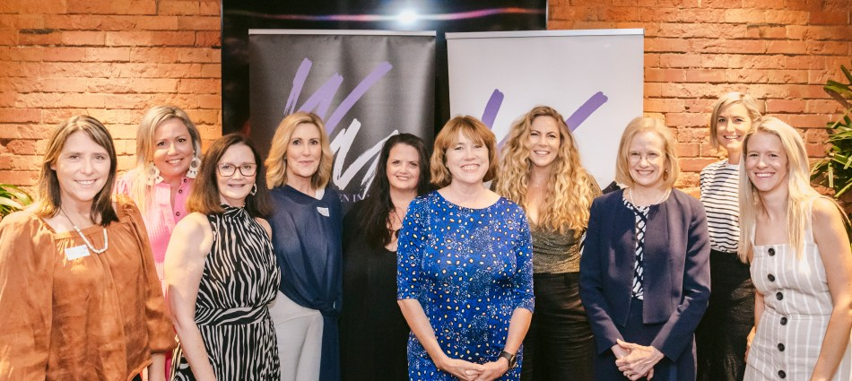 Women in Media Queensland committee members Kathy McLeish, Lou Davis, Jane Hodgkinson, Kay McGrath, Danielle Cronin, Cathie Schnitzerling, Cath Webber, Jillian Whiting, and Laura Chalmers with Chief Health Officer Dr Jeannette Young.