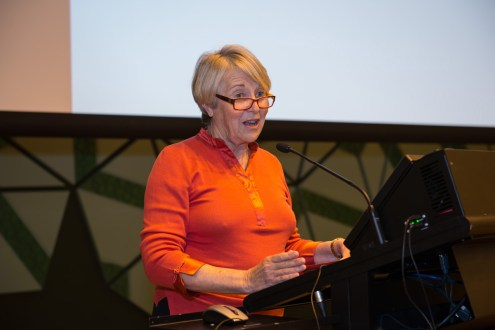 Professor Sharon Bell delivers the inaugural Ruby Payne-Scott Keynote [Image: A. Bizzarri]