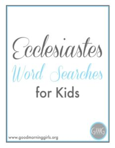 Ecclesiastes Word Searches for Kids Cover