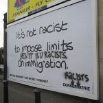 Immigration sign asks for limits on immigrants in the UK
