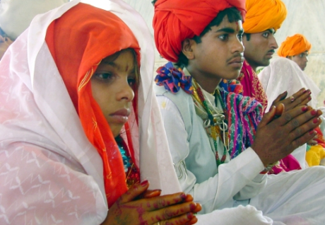 Child bride and her teenage groom