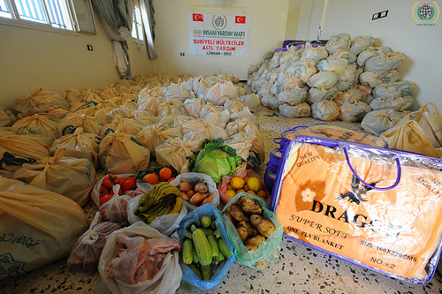 A room full of March food relief for Syria