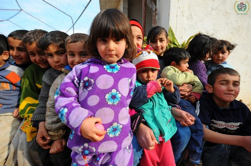 displaced children on the border of Syria and Lebanon