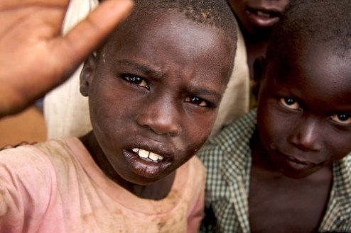 Displaced children in the Pabbo Refugee Camp near Gulu, Uganda, March 12, 2009