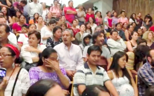 National court room Guatemala audience responds to sentencing of General Efraín Ríos Montt