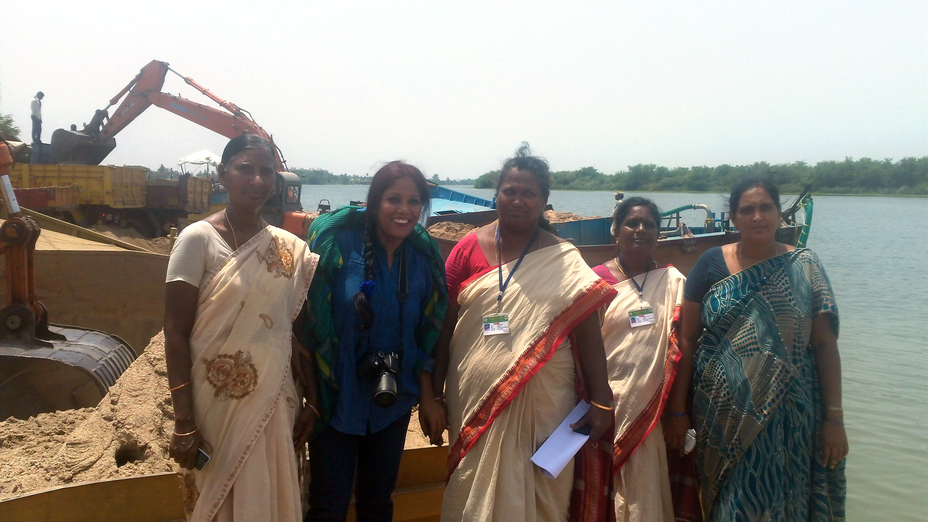 With women who stopped multi-million, illicit sand mining industry by river Krishna in southern India