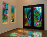 Fermata Rapture, contemporary stained glass for musicians home.
