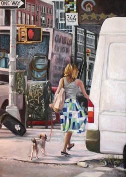 """Bowery Walk,"" Oil on Linen, 20""x30"""