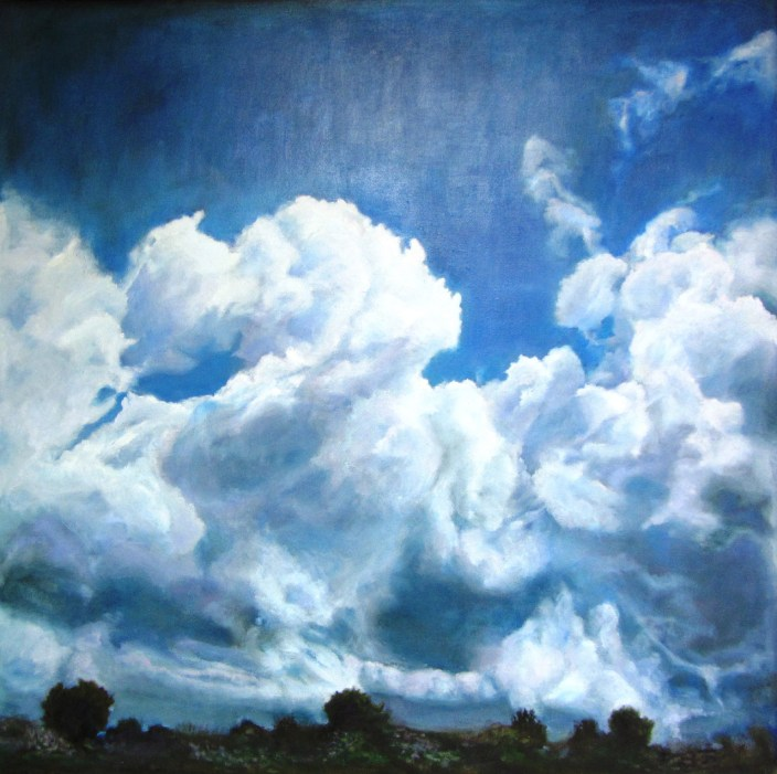 """Racing Clouds,"" Oil on Canvas, 40""x40"""