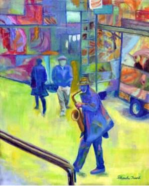"""Saxophone Player,"" Oil on Linen, 16""x20"""