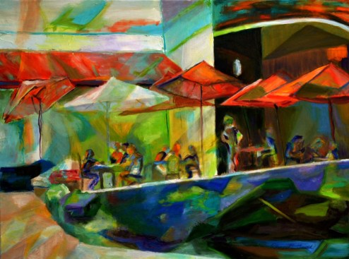 """""""Outdoor Cafe,"""" Oil on Linen, 24""""x18"""""""