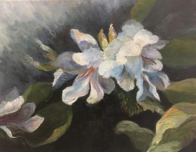 """Moonlight in the Garden,"" Oil on Canvas, 14""x11"""