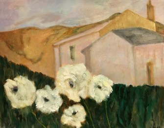 "Sara Gilbert, ""White Flowers,"" Oil on Linen, 11""x14"" - SOLD"