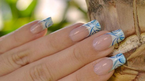 Water Decal Designer French Tips Nail Designs