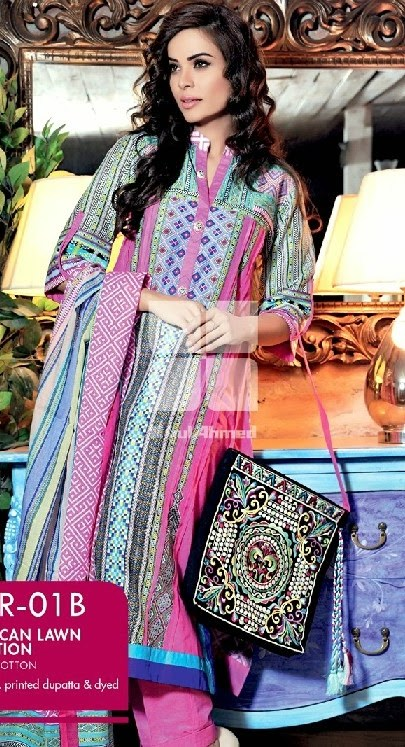 Moroccan Lawn, Gul Ahmed Normal Summer Lawn Collection 2014