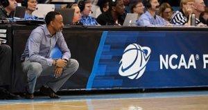 Kenny Brooks coaches the Dukes during last year's NCAA Tournament. Photo courtesy of James Madison University Athletics.