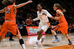 Bashaara Graves takes the ball up court. Photo courtesy of Tennessee Athletics.
