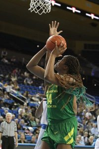 Jillian Alleyne had 25 points and 16 rebounds for Oregon. Photo by Ken Brooks/T.G.Sportstv1