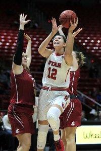 Sophomore forward Emily Potter puts up two for Utah. Photo by Steve Wilson/University of Utah Athletics.