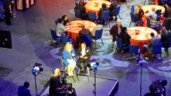 ESPN's Holly Rowe interviews Courtney Walker after her selection. Photo by Rebecca Rider.