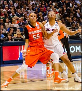 Bria Day and Morgan Tuck battle for the rebound. Photo by Robert L. Franklin.