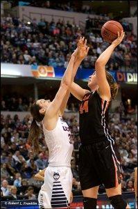 Ruth Hamblin puts up a shot against Breanna Stewart. Photo by Robert L. Franklin.