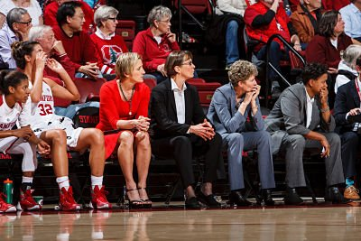Stanford assistant coach Kate Paye, head coach Tara VanDerveer, associate head coach Amy Tucker, and assistant coach Tempie Brown. VanDerveer's coaching staffs have been all women in her 30 years as Cardinal head coach. Photo Stanfordphoto.com.
