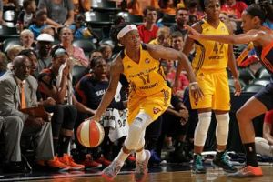 Erica Wheeler looks to pass the ball. Photo courtesy of Indiana Fever.