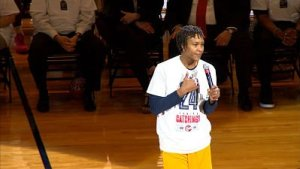 Tamika Catchings addresses the crowd at Bankers Life Fieldhouse. Photo by WTHR TV, Indianapolis.